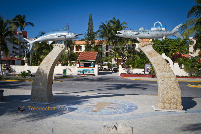 statues_poissons_plage_isla_mujeres